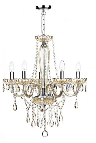 Raphael 5-light Champagne Glass Chandelier Ceiling Light (Class 2 Double Insulated) BXRAP0506-17